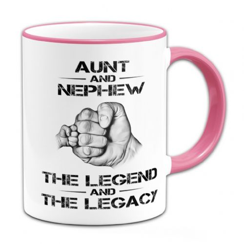 The Legend And The Legacy Novelty Gift Mug - Pink Handle / Rim